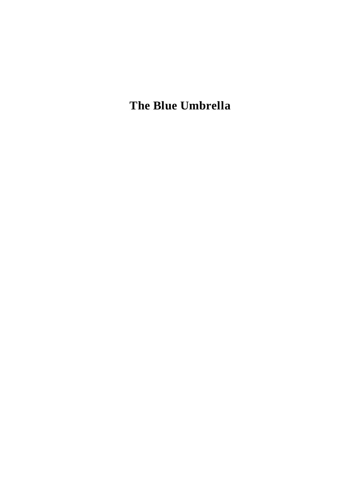 The Blue Umbrella Book by Ruskin Bond pdf