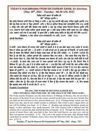 Daily/Today Hukamnama Darbar Sahib