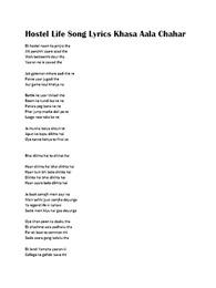 Hostel Life Song Lyrics by Khasa Aala Chahar