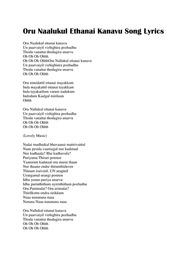 Oru Naalukul Ethanai Kanavu Song Lyrics from Yaradi Nee Mohini