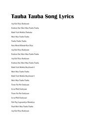 Tauba Tauba Song Lyrics by Shivam Grover