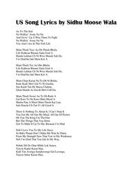 US Song Lyrics by Sidhu Moose Wala