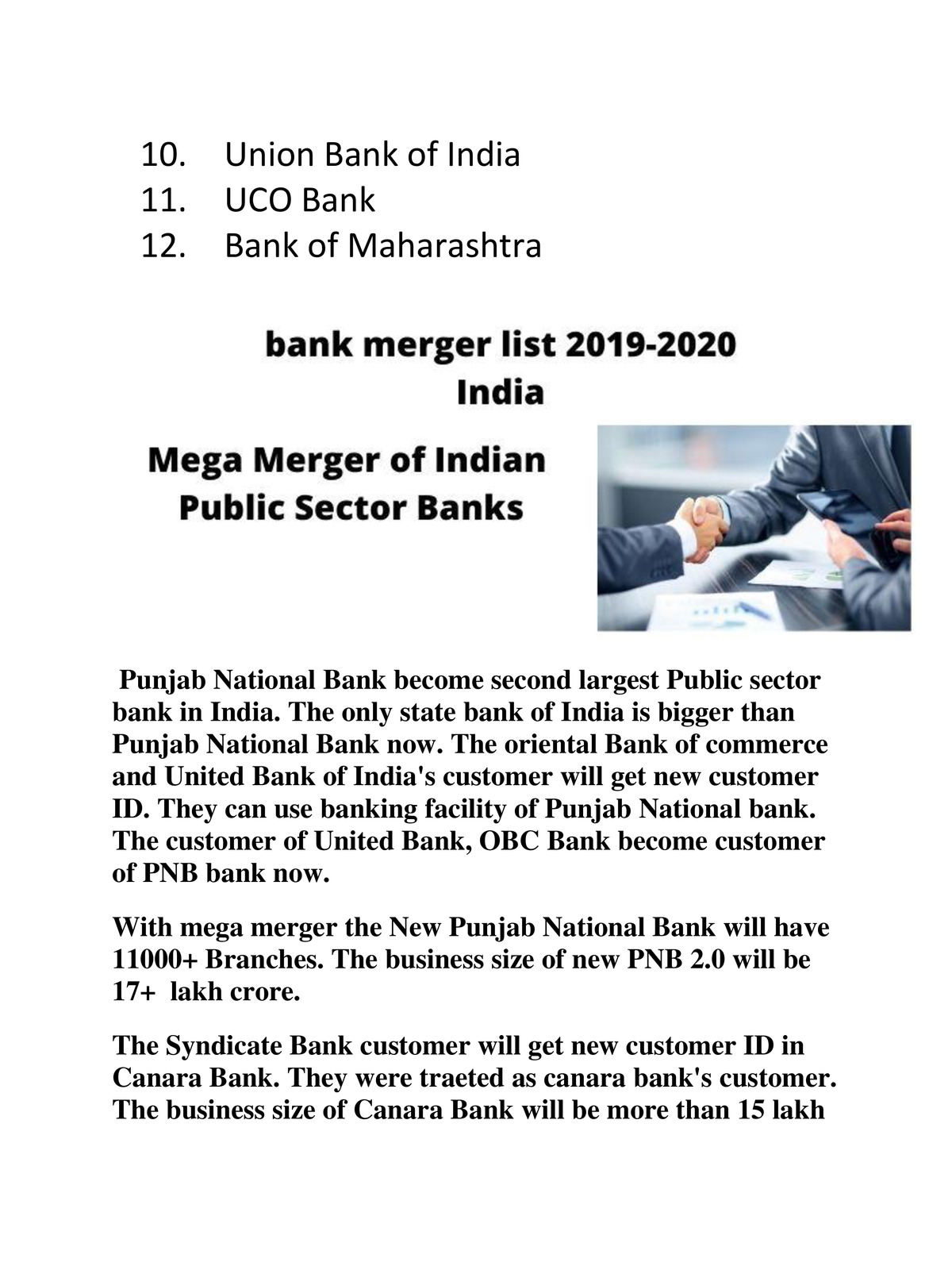 Bank Merger List in India 2020-2021 pdf