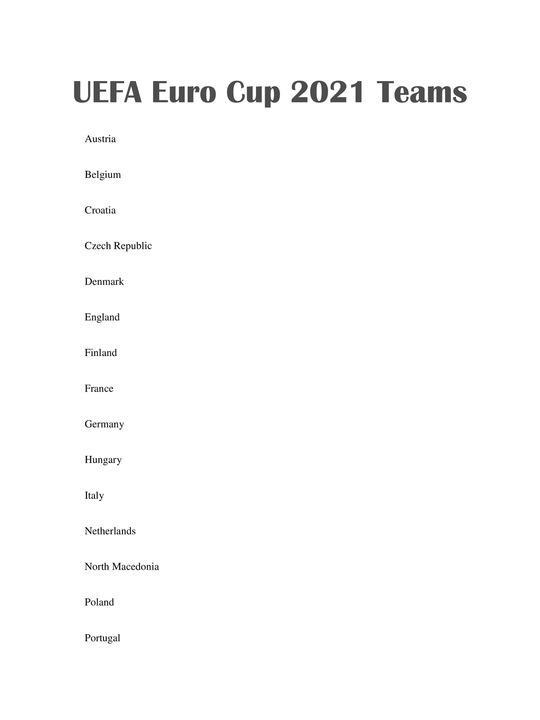 UEFA Euro Cup 2021 Teams List