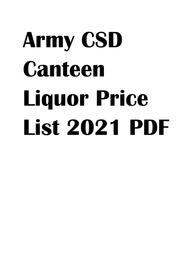 Army CSD Canteen Liquor Price List 2021