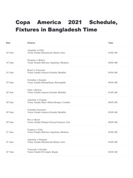 Copa America 2021 Schedule Fixtures in Bangladesh Time