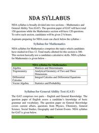 NDA Syllabus 2021