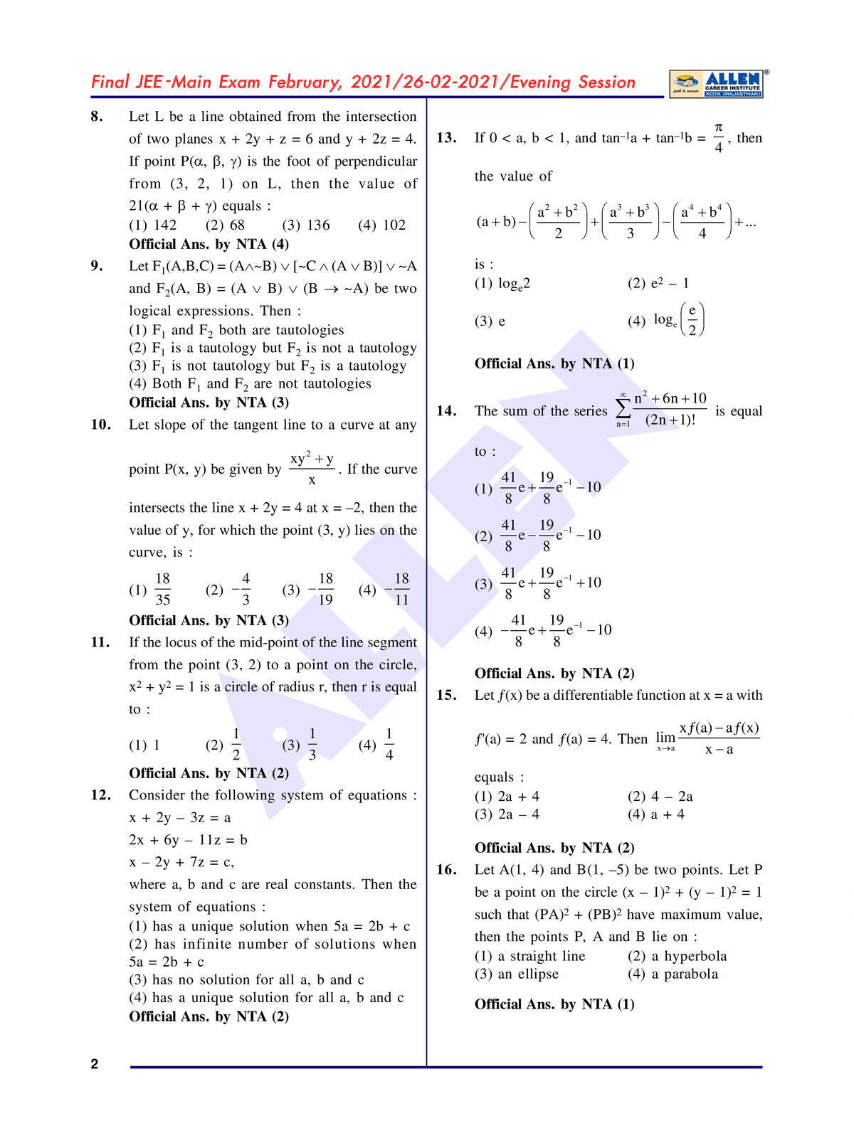 Jee Mains 2021 Question Paper with Solution pdf
