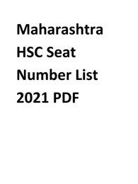 HSC Seat Number List 2021