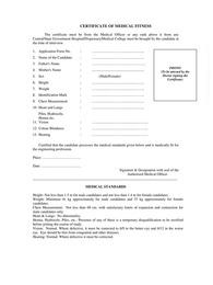 Medical Fitness Certificate Form/Format