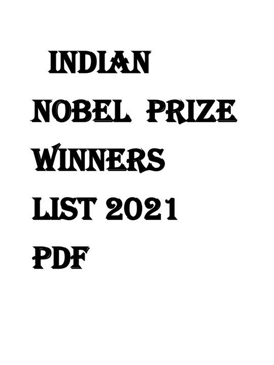 Indian Nobel Prize Winners List 2021