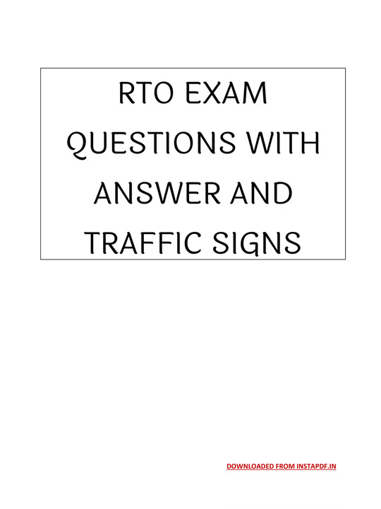 RTO Exam Questions with Answer & Traffic Sign
