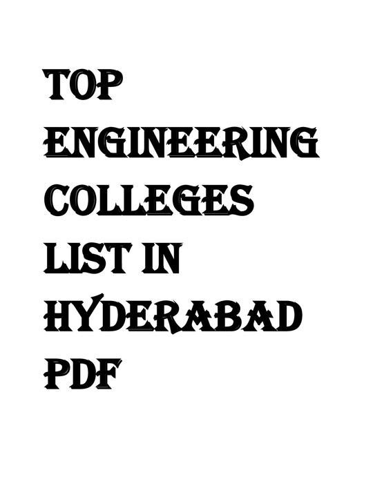 Top Engineering Colleges List in Hyderabad 2021
