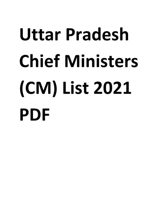 UP Chief Ministers (CM) List