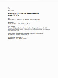 Wren and Martin High School English Grammar and Composition