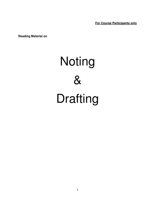 Noting and Drafting in Government Offices
