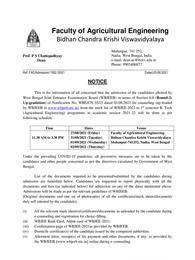 BCKV Merit List 2021