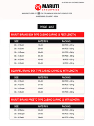 PVC Casing Capping Price List 2021