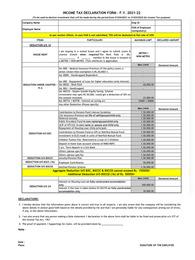 TDS Declaration Form 2021-22